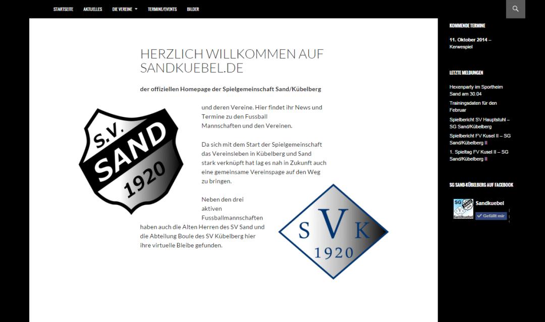Website SG Sand-Kübelberg
