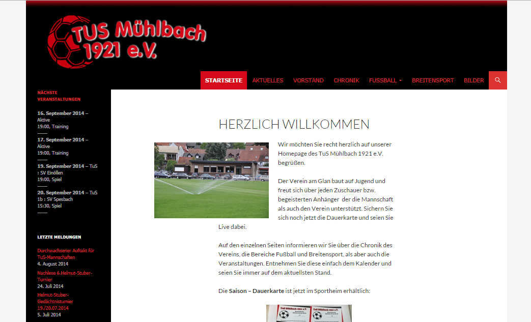 Website TuS Mühlbach
